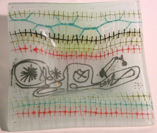 1017: HIGGINS ART GLASS SQUARE DISH  Signed with engrav