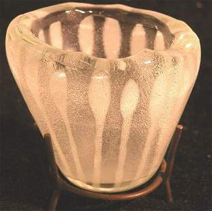 HIGGINS ART GLASS CONTAINER  This 3 1/4'' draped