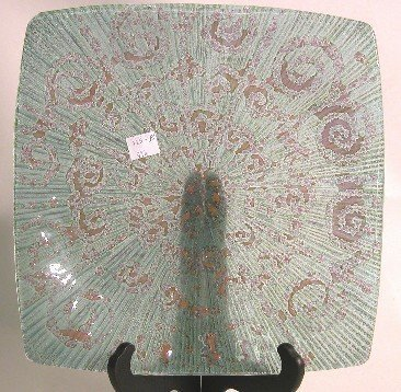 1021: HIGGINS ART GLASS SQUARE DISH  ''Filigree'' patte