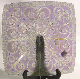 HIGGINS ART GLASS SQUARE BOWL  ''Filigree'' patte