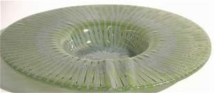 HIGGINS ART GLASS ASHTRAY  ''Greenray'' pattern,