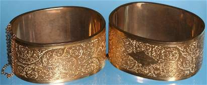 *PAIR OF VICTORIAN GOLD HINGED CUFF BRACELETS
