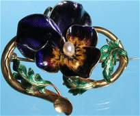 19TH C GOLD ENAMELED PANSY PIN