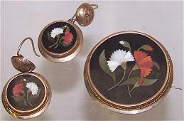 *19TH C. 3-PIECE BROOCH AND EARRING SET