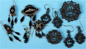 GROUP OF 19TH C MOURNING JEWELRY