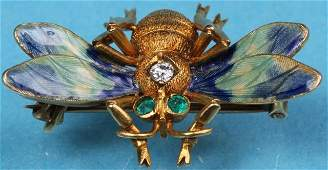 14K YELLOW GOLD AND ENAMELED BEE PIN