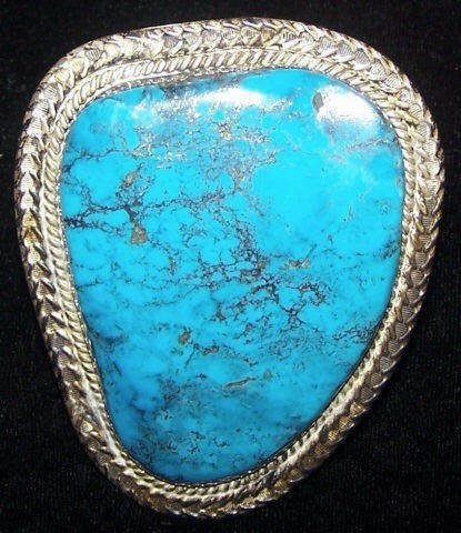 *SOUTHWEST SILVER AND TURQUOISE CUFF BRACELET