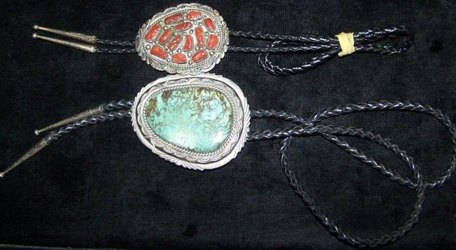 *2 SOUTHWEST STERLING SILVER BOLO TIES