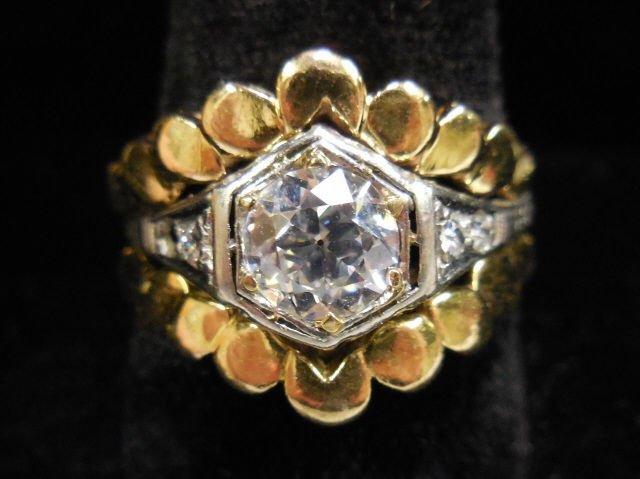 *LADIES' 14K YELLOW GOLD AND PLATINUM DIAMOND RING