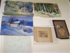 GROUP OF UNFRAMED WATERCOLORS  DRAWINGS