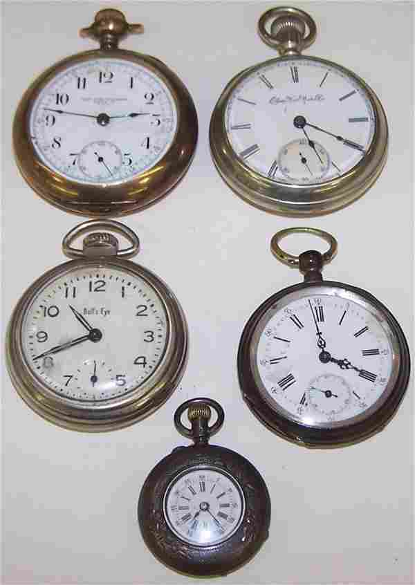 *5 OPEN FACE POCKET WATCHES