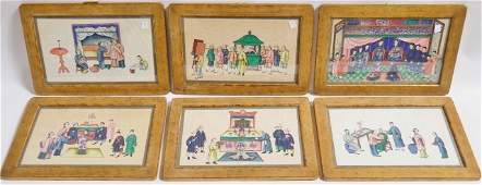 *6 ANTIQUE CHINESE PAINTED SILK PANELS