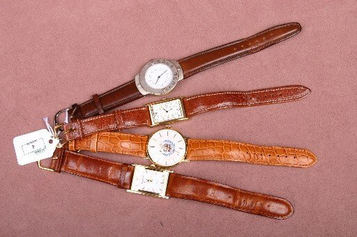 8: FOUR GENTLEMEN'S WRISTWATCHES| Two with rectangular
