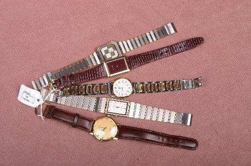 10: FIVE GENTLEMEN'S WRISTWATCHES| A reproduction Rolex