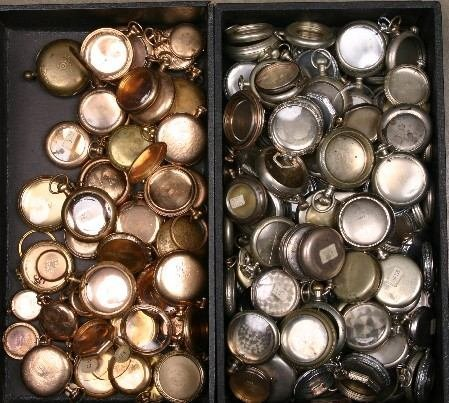 118: TWO GROUPS OF POCKET WATCH CASES| Both silver fini
