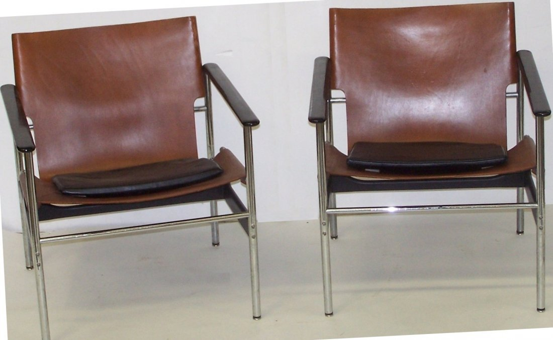PAIR OF KNOLL/POLLACK 657 SLING LOUNGE CHAIRS