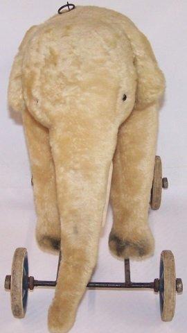 *EARLY TOY ELEPHANT ON WHEELS - 2