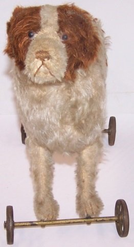 *STEIFF DOG ON WHEELS - 4