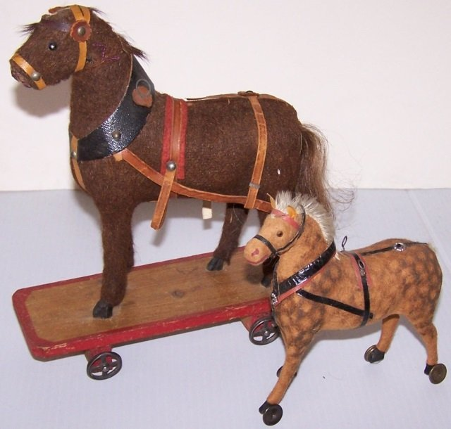 *2 EARLY TOY HORSES ON WHEELS - 3