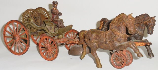 *SHIMER CAST IRON 2-HORSE-DRAWN HOSE REEL WAGON