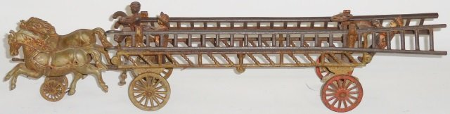 *CAST IRON 2-HORSE-DRAWN FIRE LADDER WAGON
