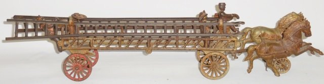 *CAST IRON 2-HORSE-DRAWN FIRE LADDER WAGON - 2