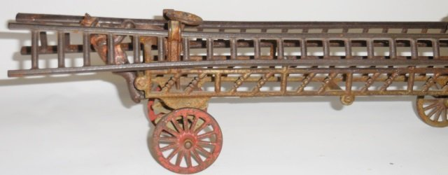 *CAST IRON 2-HORSE-DRAWN FIRE LADDER WAGON - 4