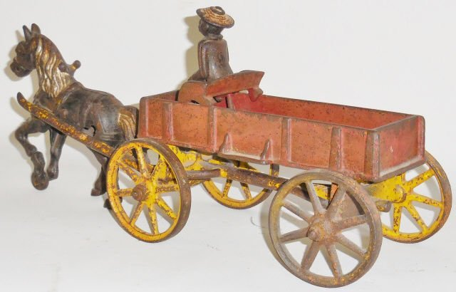 *KENTON CAST IRON SINGLE-HORSE-DRAWN WAGON - 2