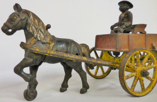 *KENTON CAST IRON SINGLE-HORSE-DRAWN WAGON - 3