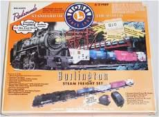 LIONEL BURLINGTON STEAM FREIGHT TRAIN SET