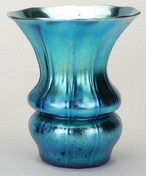2019: ***STEUBEN BLUE AURENE ART GLASS VASE  Floral for