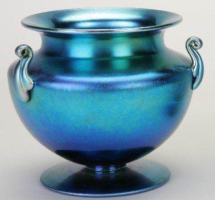 2020: ***STEUBEN BLUE AURENE ART GLASS VASE  Bulbous fo