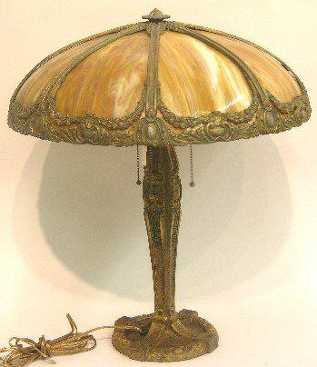 ART NOUVEAU SLAG GLASS TABLE LAMP Having domical