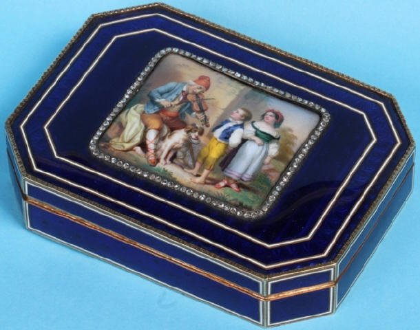 *CONTINENTAL GUILLOCHE ENAMELED GOLD BOX