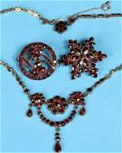 GROUP OF VICTORIAN GARNET  GILT METAL JEWELRY