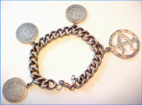 Sterling Spanish Coin Charm Bracelet