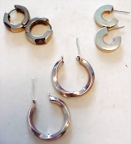 A Collection of Sterling Silver Gemstone Hoop Earrings