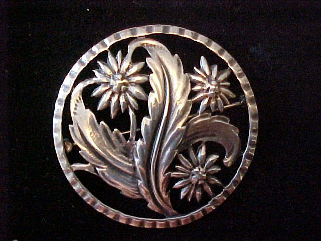 Sterling Pierced Floral Brooch