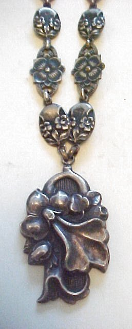 Ornate Silver Link Orchid Necklace