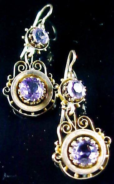 Vintage Amethyst 14k Earrings