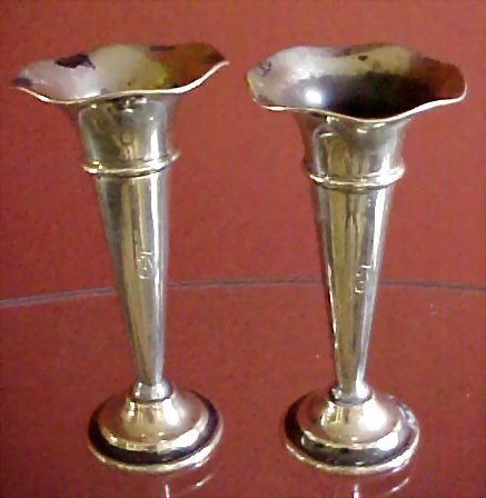 Pair of English Silver Trumpet Vases