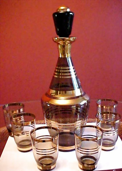 Vintage Smoky Glass Gold Overlay Cordial Apertif