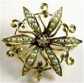 Victorian Pearl Diamond 14k Gold Star Pin