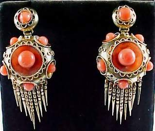 Etruscan Revival Coral 18k Foxtail Earrings