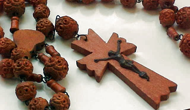 Antique French Brigittine Carved Wooden Rosary