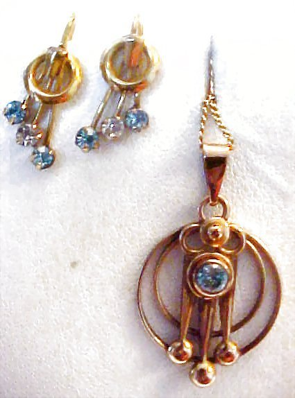 Retro Blue Stone Gold Filled Earrings and Pendant