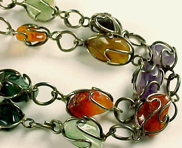 Vintage Carnelian Amethyst Silver Chain Necklace