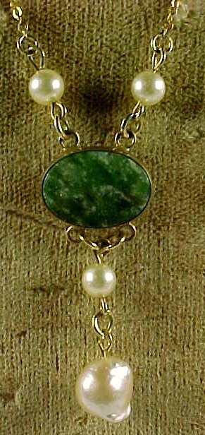 Vintage Green Stone Baroque Pearl Gold filled Lavaliere