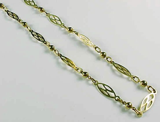 Gold Filled Fancy Lozenge Link Chain Necklace