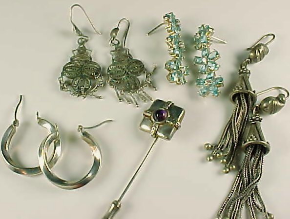 Small Silver Filigree Earring Pin Grouping